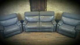 Grey reclining 3 seater sofa and 2 armchairs