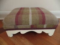 cream painted wooden footstool with tartan upholstery