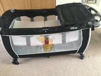 Hauck Travel Cot with changing table clip on (Winnie the Pooh)