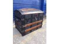 Victorian Dome Top Travel Trunk/ Toy Chest - Antique Vintage Retro