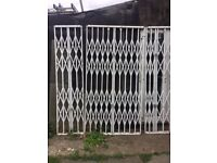 X 3 HEAVY DUTY SECURITY GATES, FOR INDOOR OR OUTSIDE USE.