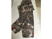 Masai silk multi floral trousers size X Large