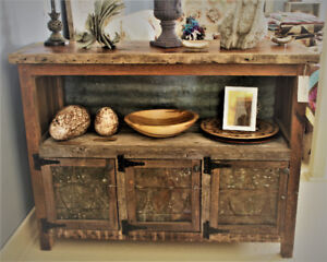 RUSTIC BUFFET SERVER HAND CRAFTED FROM RECLAIMED CENTURY LUMBER