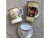 Scorpio mug, golf mug and China cup and saucer