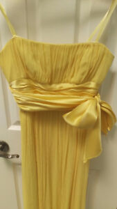 BCBG MAX AZRIA Yellow Silk Strapless Prom Bridesmaid Gown