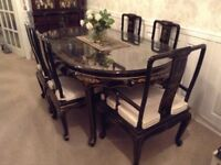 Chinese lacquer dining table and six chairs