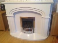 Marble fireplace and silver gas fire