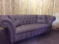 CHESTERFIELD SOFA AND SCROLL CHAIR BROWN FABRIC £950ono