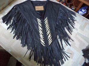 BLACK LEATHER WESTERN PANCHO