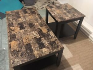 Faux Marble Coffee table and two end tables