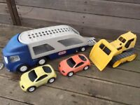 Little Tykes Car Transporter with two cars plus bulldozer outdoor toys