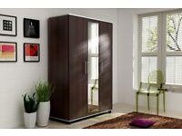 Lux 3 Door Style Wardrobe Center Mirror 3 Door,cupboard, cabinet, wenge, white