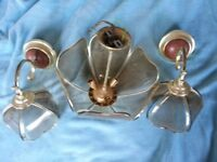 Brass & smoked Glass Uplighter and Pair of matching Wall lights