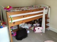 Child's solid white and pine midi sleeper with desk and bookcase