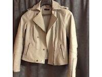 Mint Velvet winter white ladies leather jacket size 10