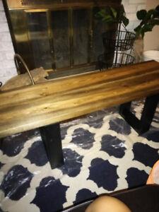 Farmhouse Style Wooden Bench and Coffee Table