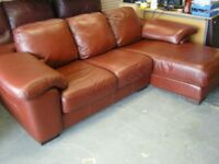 Corner L Shaped Sofa Settee Suite in Brown Leather. Great Condition