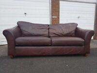 Large Brown leather Marks and Spencer 4 seater sofa