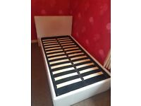 Faux Cream Leather Single Bed