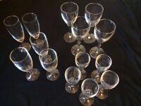 Set of 15 glasses, various sizes