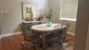 Travertine dining room set and buffet