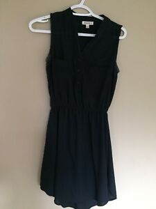Button up short black dress