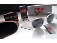 DELIVERY AVAILABLE TODAY! RAYBANS WHITE GLOSS LADIES SUNGLASSES sofa