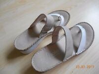 T-bar wedge heeled sandals, size 4