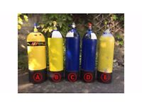 15L & 12L Dive Cylinders / Dive Tanks - Newly Tested - SCUBA Diving - Paint Ball