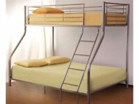 **7-DAY MONEY BACK GUARANTEE!**- Alexa Triple Metal Bunk Bed and Mattress - SAME/NEXT DAY DELIVERY
