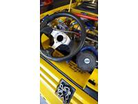 Car Rally race track steering wheel and boss's