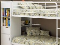 White Wooden Bunk Bed with extra storage and 2 mattresses
