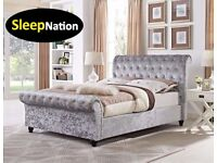 CRUSH VELVET CHESTERFIELD SLEIGH BED FRAME OFFER