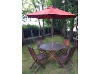 Garden Table and Chairs plus Parasol
