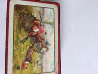 Antique set waddingtons Linen 1930 s playing cards of racing horses in box .