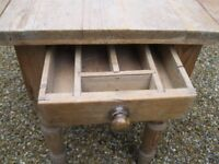 SMALL VICTORIAN KITCHEN TABLE. PINE. Delivery possible. ALSO PEWS/ BENCHES, OLD CUPBOARD & DRESSER.