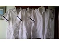 "3 Female healthcare tunics, white with navy trim 104cm/41"" Euro size 46 good condition"