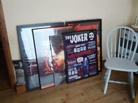 selection of framed movie and gaming posters / pictures.. batman etc
