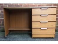 Teak Effect Wooden Dressing Table With 4 Drawers