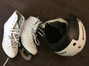 Figure Skates Size 1 and CSA approved Hockey Helmet size 6-61/2)