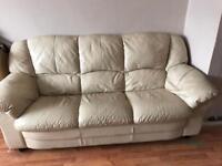 2 cream leather sofas