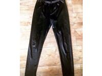 PVC Leather Look Leggings - Size 12