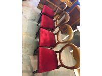 Victorian mahogany balloon back dining chairs x4