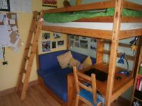 Loft Bed/High Sleeper Bed with Futon, Desk and Bookshelves