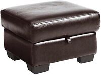 BRAND NEW QUALITY DESIGNER CYPRUS CHESTNUT LEATHER STORAGE BROWN FOOTSTOOL RRP £249