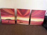 3 x sunset canvas print painting elephants dining room living room orange red