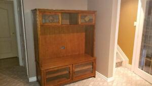 oak entertainment tv wall unit