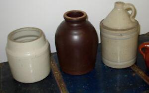 3 Pots de grès  Antiques 20$
