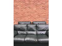 Green leather sofa and chairs must collect jarrow
