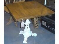 Chunky Square Table On Cast Iron Support For Pub, Bistro, Patio Or Conservatory